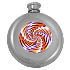 Woven Colorful Waves Round Hip Flask (5 Oz) by designworld65