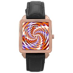 Woven Colorful Waves Rose Gold Leather Watch  by designworld65