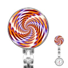 Woven Colorful Waves Stainless Steel Nurses Watch by designworld65