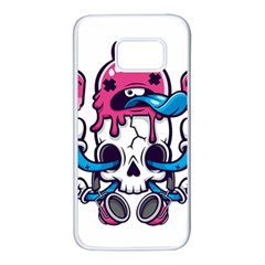 Ice Cream Skull Samsung Galaxy S7 White Seamless Case by quirogaart
