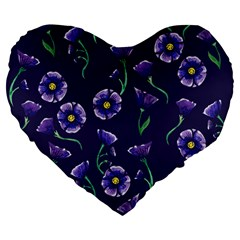 Floral Large 19  Premium Flano Heart Shape Cushions by BubbSnugg
