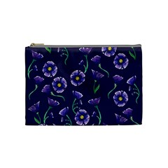 Floral Violet Purple Cosmetic Bag (medium)  by BubbSnugg