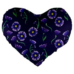 Floral Violet Purple Large 19  Premium Heart Shape Cushions by BubbSnugg
