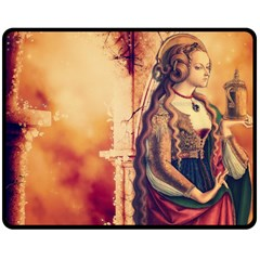 Fantasy Art Painting Magic Woman  Double Sided Fleece Blanket (medium)  by paulaoliveiradesign