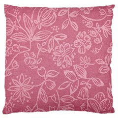 Floral Rose Flower Embroidery Pattern Large Flano Cushion Case (one Side) by paulaoliveiradesign