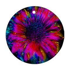 Flowers With Color Kick 3 Round Ornament (two Sides) by MoreColorsinLife