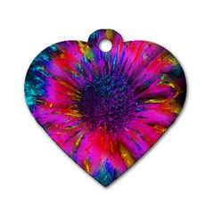 Flowers With Color Kick 3 Dog Tag Heart (one Side) by MoreColorsinLife