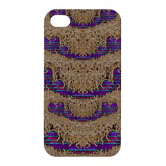 Pearl Lace And Smiles In Peacock Style Apple Iphone 4/4s Hardshell Case by pepitasart