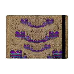 Pearl Lace And Smiles In Peacock Style Apple Ipad Mini Flip Case by pepitasart
