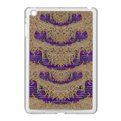 Pearl Lace And Smiles In Peacock Style Apple Ipad Mini Case (white) by pepitasart