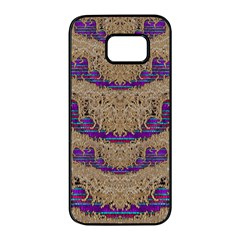 Pearl Lace And Smiles In Peacock Style Samsung Galaxy S7 Edge Black Seamless Case by pepitasart