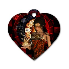 Steampunk, Beautiful Steampunk Lady With Clocks And Gears Dog Tag Heart (one Side) by FantasyWorld7