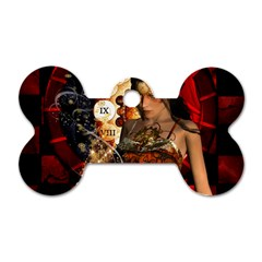 Steampunk, Beautiful Steampunk Lady With Clocks And Gears Dog Tag Bone (one Side) by FantasyWorld7