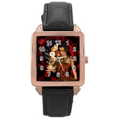 Steampunk, Beautiful Steampunk Lady With Clocks And Gears Rose Gold Leather Watch  by FantasyWorld7