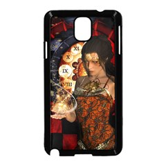 Steampunk, Beautiful Steampunk Lady With Clocks And Gears Samsung Galaxy Note 3 Neo Hardshell Case (black) by FantasyWorld7