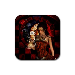 Steampunk, Beautiful Steampunk Lady With Clocks And Gears Rubber Square Coaster (4 Pack)  by FantasyWorld7