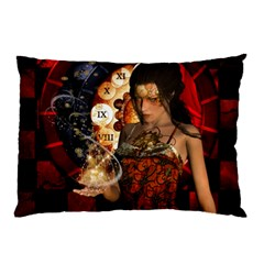 Steampunk, Beautiful Steampunk Lady With Clocks And Gears Pillow Case (two Sides) by FantasyWorld7