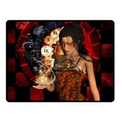 Steampunk, Beautiful Steampunk Lady With Clocks And Gears Double Sided Fleece Blanket (small)  by FantasyWorld7