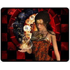 Steampunk, Beautiful Steampunk Lady With Clocks And Gears Double Sided Fleece Blanket (medium)  by FantasyWorld7