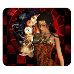 Steampunk, Beautiful Steampunk Lady With Clocks And Gears Double Sided Flano Blanket (small)  by FantasyWorld7