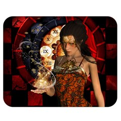 Steampunk, Beautiful Steampunk Lady With Clocks And Gears Double Sided Flano Blanket (medium)  by FantasyWorld7