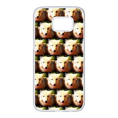 Cute Animal Drops   Wolf Samsung Galaxy S7 Edge White Seamless Case by MoreColorsinLife