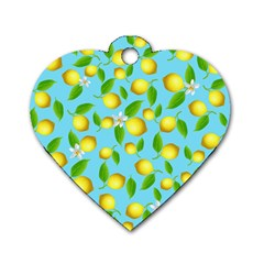 Lemon Pattern Dog Tag Heart (one Side) by Valentinaart