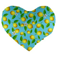 Lemon Pattern Large 19  Premium Heart Shape Cushions by Valentinaart