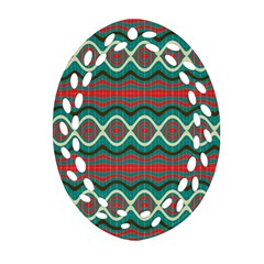 Ethnic Geometric Pattern Oval Filigree Ornament (two Sides) by linceazul