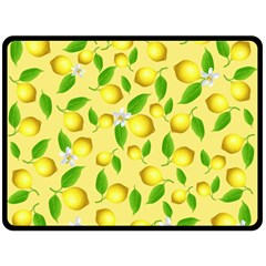 Lemon Pattern Double Sided Fleece Blanket (large)  by Valentinaart