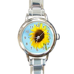 Sunflower Round Italian Charm Watch by Valentinaart