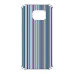 Lines Samsung Galaxy S7 Edge White Seamless Case by Valentinaart