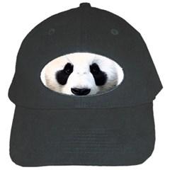 Panda Face Black Cap by Valentinaart