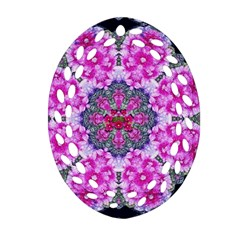 Fantasy Cherry Flower Mandala Pop Art Oval Filigree Ornament (two Sides) by pepitasart