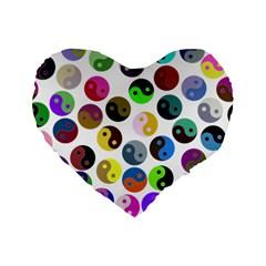 Multi Ying Yang Standard 16  Premium Flano Heart Shape Cushions by MayhemMaker