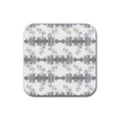 Floral Collage Pattern Rubber Coaster (square)  by dflcprints