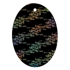Birds With Nest Rainbow Oval Ornament (two Sides) by ssmccurdydesigns