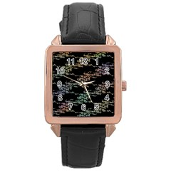 Birds With Nest Rainbow Rose Gold Leather Watch  by ssmccurdydesigns