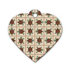 Native American Pattern Dog Tag Heart (two Sides) by linceazul
