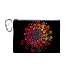 Rainbow Flower Spiral Fractal Canvas Cosmetic Bag (m) by amphoto