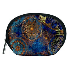 Abstract Pattern Gold And Blue Accessory Pouches (medium)  by amphoto