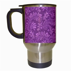 Floral Pattern Travel Mugs (white) by ValentinaDesign