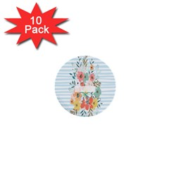 Watercolor Bouquet Floral White 1  Mini Buttons (10 Pack)  by Nexatart