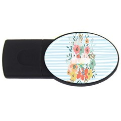 Watercolor Bouquet Floral White Usb Flash Drive Oval (4 Gb) by Nexatart