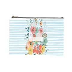 Watercolor Bouquet Floral White Cosmetic Bag (large)  by Nexatart