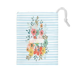 Watercolor Bouquet Floral White Drawstring Pouches (large)  by Nexatart