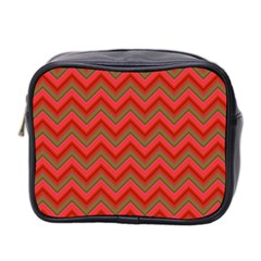 Background Retro Red Zigzag Mini Toiletries Bag 2 Side