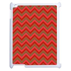 Background Retro Red Zigzag Apple Ipad 2 Case (white) by Nexatart