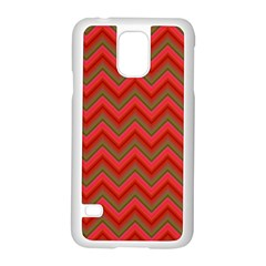 Background Retro Red Zigzag Samsung Galaxy S5 Case (white) by Nexatart