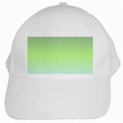Green Line Zigzag Pattern Chevron White Cap